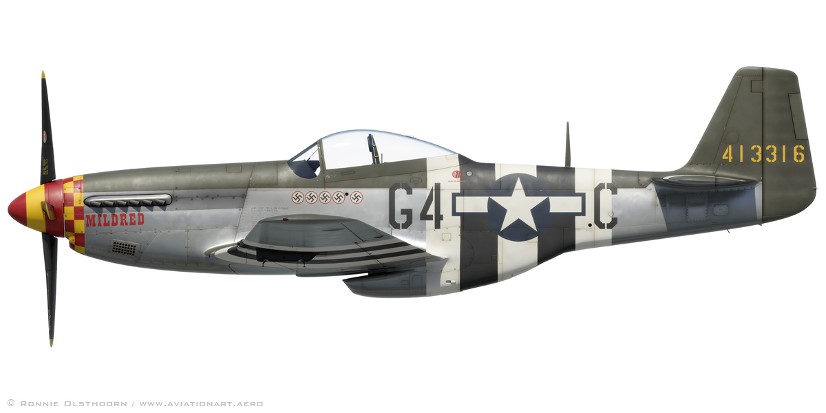 D Day 70 A Stripey P 51d 5 Mustang Profile